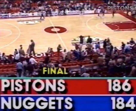 Detroit Pistons el equipo que más puntos ha anotado en un partido de la NBA